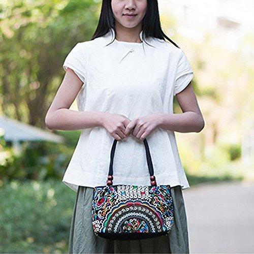 Dxlta Damen Vintage Handgefertigt Gestickte Handtaschen mit Holzperlen Lila