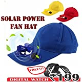 VOLTAC Solar Power Air Fan Hat Peak Cap Sunhat for Outdoor Camping/Hiking/Cycling with Wrist Watch (Multicolour)