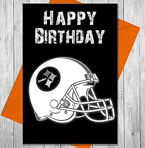 Carte d'anniversaire Football américain NFL Pittsburgh Steelers–Effet Tableau noir Unique