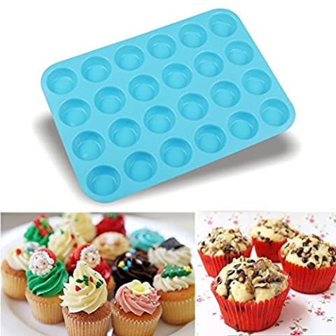 IGEMY 24 Cavity Mini Muffin Silicone Soap Cookies Cupcake Bakeware Pan Tray Mould (Blue)