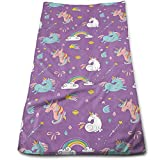 ewtretr Toallas De Mano, Unicorn and Rainbows Diamonds Wand Pattern Cool Towel Beach Towel Instant
