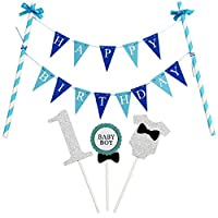 KUNGYO Mini Happy Birthday Cake Bunting Banner Cake Topper Garland - Handmade Pennant Flags Baby Girl and Boy Birthday Party Cake Decoration Supplies