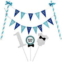 """KUNGYO""""Happy Birthday"""" Decorazione Della Torta di Compleanno- Mini Bandiera Blu e """"1"""" Topper Della Torta per la Festa di Compleanno di Un Ragazzo di 1 Anno"""