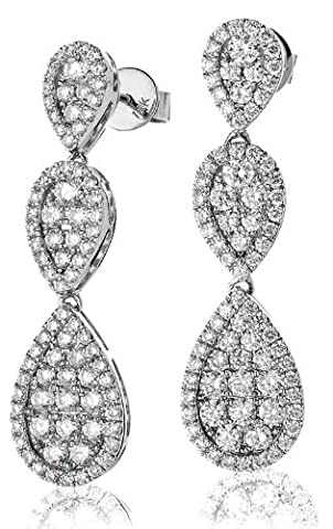 2CT Certified G/VS2 Pave Diamond Three Drop Pear Shape Earings in 18K White Gold