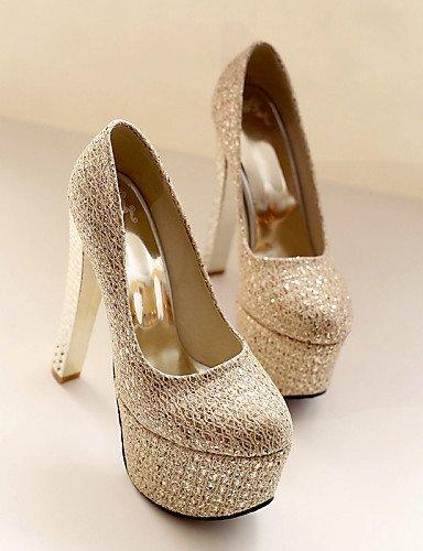 ShangYi Damenschuhe - High Heels - Hochzeit / Kleid / Party & Festivität - Kunstleder - Blockabsatz - Absätze / Rundeschuh - Silber / Gold golden