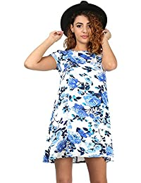 Oops Outlet Womens Ladies Printed Summer Sunny Stretchy Short Cap Sleeve Flared Franki Tunic Swing Dress Plus Size