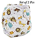 LUKZER [Pack Of 2 With 4 Diaper Liners (Inner Cloths)] Reusable New Adjustable (for all sizes) Baby Washable Cloth Diaper Nappies for Babies of Ages 0 to 2 years, Random Color