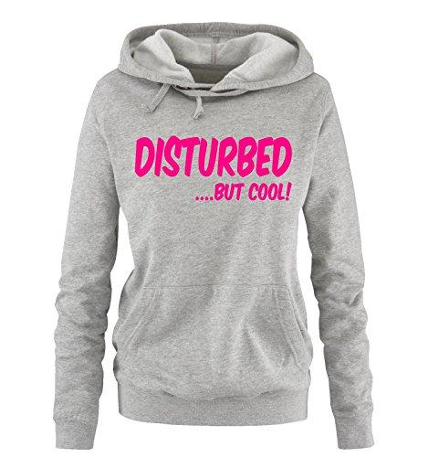 Comedy Shirts - DISTURBED BUT COOL! - Donna Hoodie cappuccio sweater - grigio / fucsia taglia XL