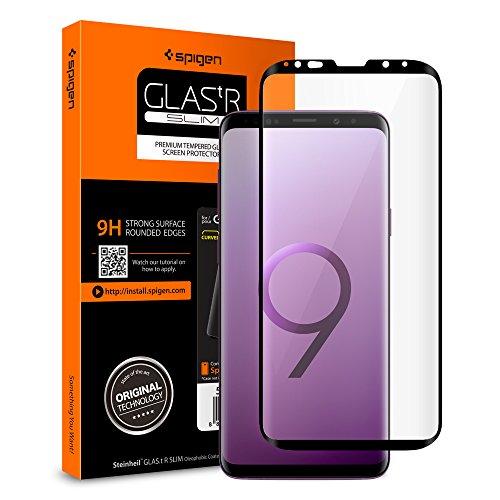 Spigen Samsung Galaxy S9 Plus Panzerglas, Hüllenfre&lich, Schwarz, Volle Abdeckung, 9H gehärtetes Glas, Antikratz, Glas 0.33mm, Samsung Galaxy S9 Plus Schutzfolie (593GL22905)
