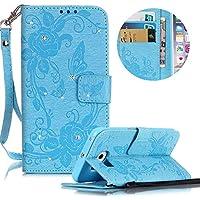 Kristall Lederhülle für Galaxy S6 Edge,Gurt Glitzer Handyhülle für Galaxy S6 Edge,Moiky Stilvoll Jahrgang Blau Schmetterling Blumen Gemalte Diamant Stoßdämpfende mit Stand Etui Schutzhülle