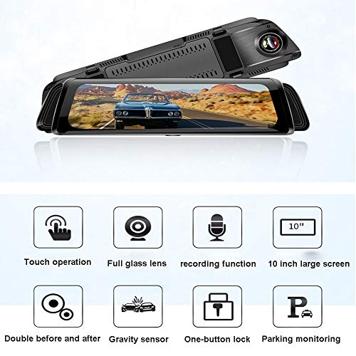 10 Zoll Full Screen Rearview Mirror Touch Screen Driving Recorder HD 1080P Low Light Night Vision Car CAR Black Box, 170 ° Wide Angle, 24 Stunden Anytime Monitoring, Loop Video