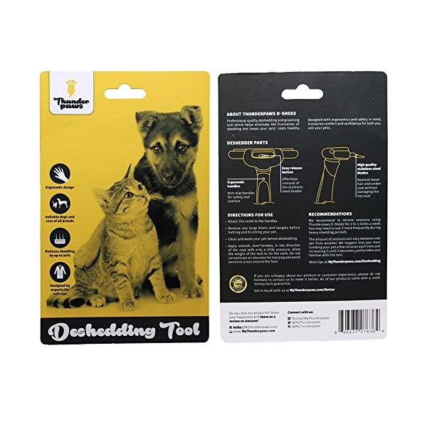 Thunderpaws Professional De-shedding Tool and Pet Grooming Brush, D-Shedz for Breeds of Dogs, Cats with Short or Long Hair, Small, Medium and Large 3