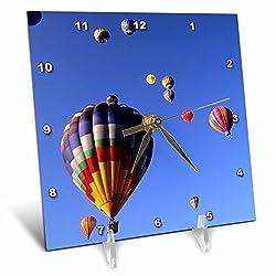 3dRose Hot Air Balloons, Albuquerque, New Mexico - Us32 Bba0010 - Bill Bachmann - Desk Clock, 6 by 6-Inch (dc_92523_1)