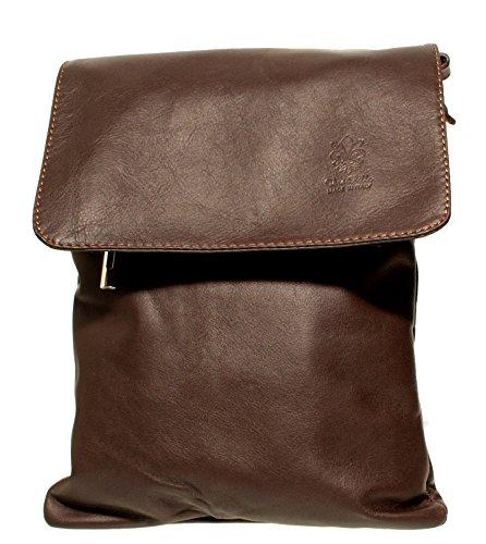 42707d11f3799 ... Echt Leder Umhängetasche Damen Tasche Handtasche Ledertasche  Schultertasche (braun) dunkelbraun