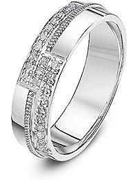 Theia 9ct White Gold Court 0.12ct Round Diamond 4mm Eternity Ring