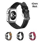 BOOSTED®, für Apple Watch Ersatzband 42mm - Serie 3,2,1, Stoff mit elegantem Lederbesatz Sportband mit klassischer Schnalle für Apple iWatch und Sports & Edition - (Schwarz 42mm)