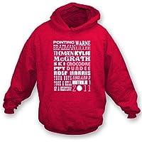 Medium incappucciato 2011, colore - rosso della maglietta felpata dell'Inghilterra 3 Australia 1 delle ceneri