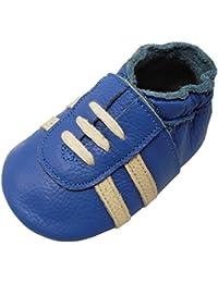 YIHAKIDS Weicher Leder Lauflernschuhe Krabbelschuhe Babyhausschuhe Turnschuh Sneakers mit Wildledersohlen
