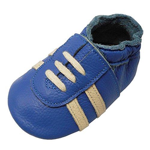 YIHAKIDS Weicher Leder Lauflernschuhe Krabbelschuhe Babyhausschuhe Turnschuh Sneakers mit Wildledersohlen(Blau,24-36 Monate)