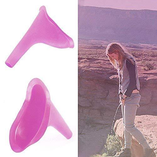 Frauenurinal Urinal für Frauen für sicheres Urinieren im Stehen oder Hocken, ,wiederverwendbar und tragbar, ideal für unterwegs wie Camping, Reisen, Wandern,Bergsteigen,4 Stück (Pink) - 3