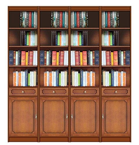 Wandregal 200 x 36.5 x H 220 cm, Regal für Büro Wohnzimmer, Wohnwand aus Holz schnell zu montieren, Bücherregal 2 m mit Türen Schubladen und Einlegeböden (Bücherschrank Schubladen)