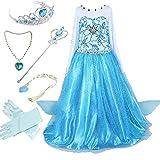 Canberries  Mädchen Prinzessin Schneeflocke Kleid Kostüme, #02 Kleid und Zubehör, Gr. 128 (Herstellergröße- 130cm)