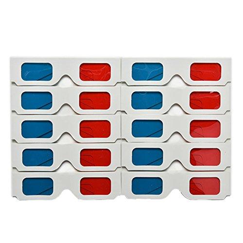 Demarkt 10x 3D Glasses Rote und Blaue 3D Brille aus Papier und Kunststoff