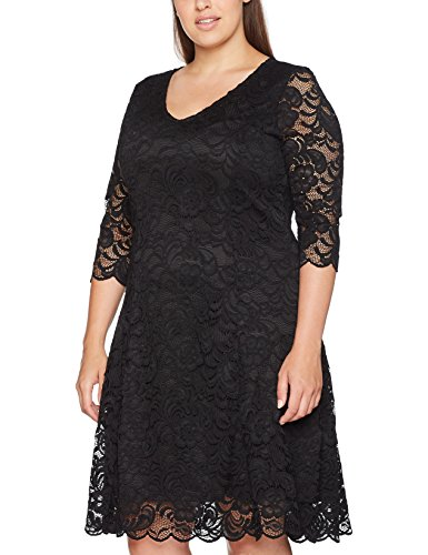 Junarose Damen Kleid Jremma 3/4 Lace Abk Dress #4-S Supply, Schwarz (Black Beauty), 42 (Herstellergröße: Oversize S)
