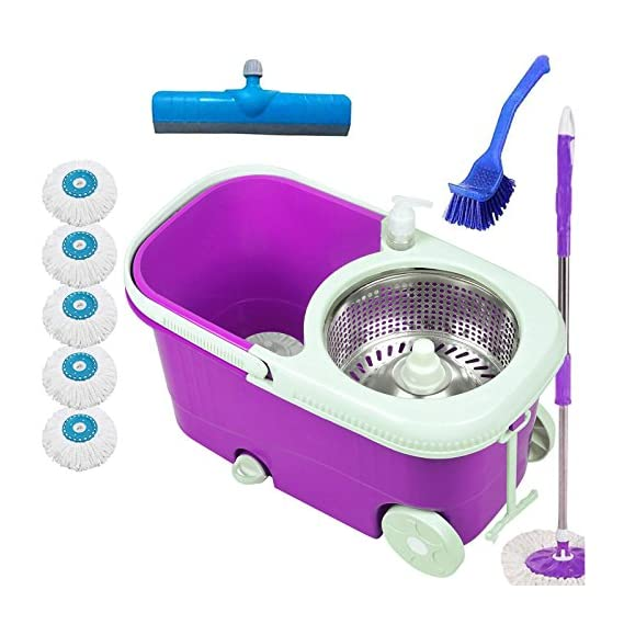 V-MOP Elite Steel Bucket Mop With 6 Heads + Sink Cleaner + Floor Wiper (Color May Vary As Per Availability)