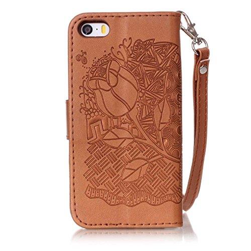 Mk Shop Limited Coque pour iPhone 5 5S,,PU Cuir Flip Magnétique Portefeuille Etui Housse de Protection Coque Étui Case Cover avec Stand Support pour Apple iPhone 5 5S, Multi-couleur 23