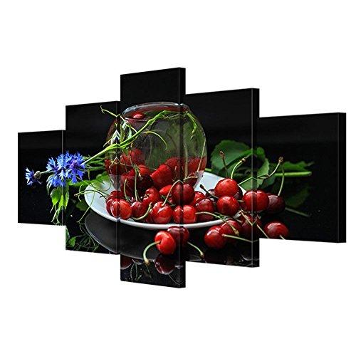 XY-QXZB Moderne Giclee Leinwanddrucke Kunstwerk Kirsche Poster HD drucken 5 Blätter 1 Set Wohnzimmer dekorative Wandmalerei (Multi-Größe optional), with Borders, SizeB - Optional Kirsche