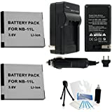2-Pack Canon NB-11L High-Capacity Replacement Batteries With Rapid Travel Charger For Canon PowerShot A2300 IS A2400 IS A3400 IS A4000 IS ELPH 110HS ELPH 320HS Digital Cameras - UltraPro BONUS INCLUDED: Camera Cleaning Kit Camera Screen Protector Mini Tra