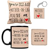 YaYa Cafe Mothers Day Gifts For Mother In Law, My Mother In Love Combo Set Of 4 - Mug, Coaster, Cushion Cover And Keychain