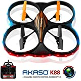 AKASO K88 Drón de 6 ejes con cámara HD y Giroscopio 2 RTF LED Vuelta de 360º
