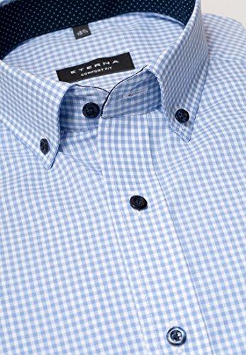 ETERNA long sleeve Shirt COMFORT FIT Poplin checked azzurro chiaro/bianco