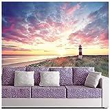 azutura Leuchtturm Sonnenaufgang Fototapete Strand Tapete Wohnzimmer Schlafzimmer Dekor Erhältlich in 8 Größen Riesig Digital