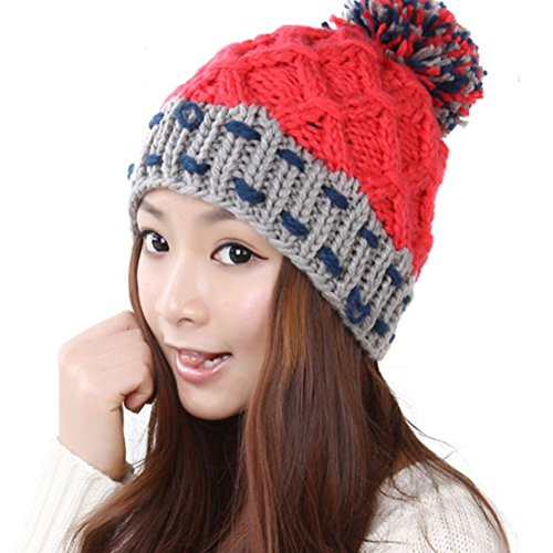 chapeau en laine coréen/Le chapeau chaud féminin/Chapeau de boule boule/ chapeau tricoté E