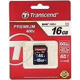 Transcend Premium - Tarjeta de Memoria SDHC 16GB UHS-I Clase 10 de Ultra Alta Velocidad Para Cámaras Profesionales