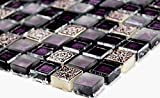 Mosaik-Netzwerk Mosaikfliese Quadrat Crystal/Stein/Resin mix lila/lila matt Glas Naturstein Ornament Fliesenspiegel, Mosaikstein Format: 15x15x8 mm, Bogengröße: 322x305 mm, 1 Bogen / Matte