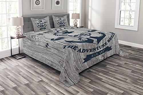 ABAKUHAUS Anker Tagesdecke Set, Anker Schädel Meer Seil, Set mit Kissenbezügen Feste Farben, für Doppelbetten 220 x 220 cm, Marineblau Beige