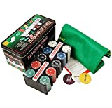 #6: Jonquin Texas Hold'em Poker Set, 200 Chips W Rack, Gaming Mat, 1 Big, 1 Small Blind, 1 Dealer Button (Multicolour, 6142)