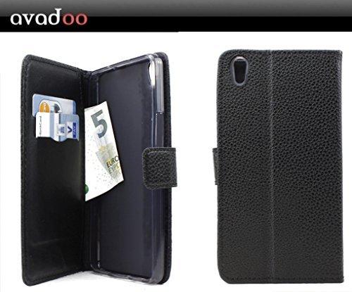 avadoo® Medion Life S5504 Flip Case Cover Tasche Schwarz mit Magnetverschluss und Dualnaht als Cover Tasche Hülle