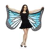 Schal DELLIN Weiches Gewebe Schmetterlingsflügel Fee Damen Nymphe Pixie Kostüm Zubehör (Blau)