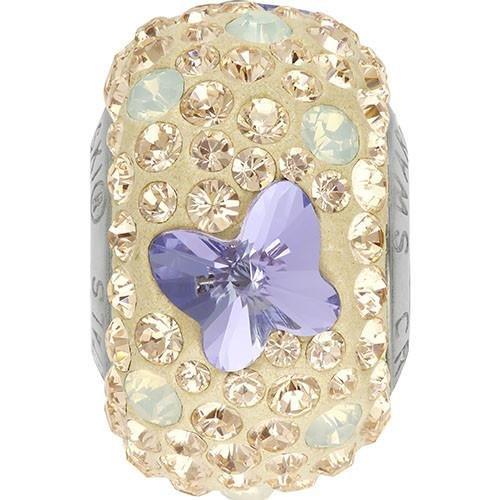 82133Swarovski BeCharmed Charm Schmetterling Perlen, Provence Lavender & White Opal & Silk, 14.5mm - Pack of 1