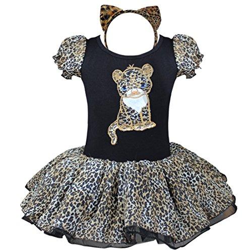 id Ballettkleid Katze Kinder Kostüm Ballettanzug Tütü Rock mit Haarreif Leopard 80-86 (Leopard Halloween-kostüme)