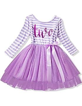 NNJXD Mädchen Glänzend Streifen Baby Girl Ärmellos / Bedrucktes Tutu mit langem Ärmel / Geburtstagskleid