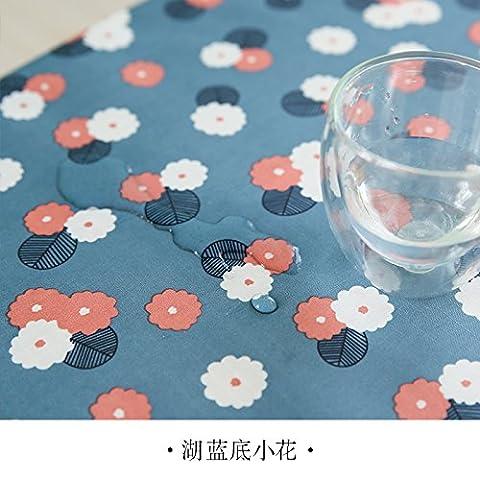 Longzhi PVC wasserdicht Tuch Bügeltisch Tuch Tuch Einwegflaschen aus Plastik Tischdecke Tischdecke rechteckige Schlafsaal am Ende der blauen Blumen 100 * 140 (Blumen Plastiktischdecke)
