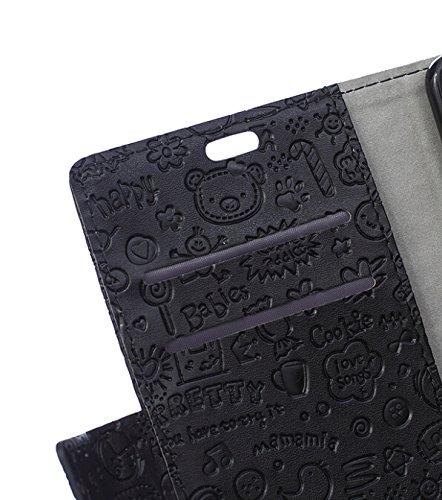 Voguecase® Pour Apple iPhone 6/6s 4,7 Coque, Etui Housse Cuir Portefeuille Case Cover (dream/plume 01)de Gratuit stylet l'écran aléatoire universelle Fille Magique-Noir