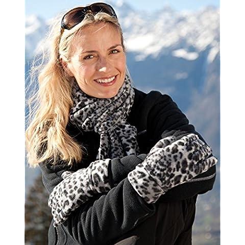 Set de bufanda y guantes con forro polar Snow Leopard