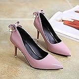 HRCxue Einzelne Schuhe Frauen Schuhe, bemalte Leder-fein gespitzt, Schuhe mit hohen Absätzen, 34